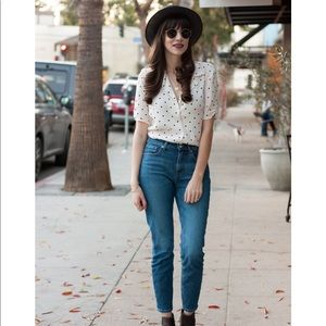 Everlane High Rise Skinny Jeans Mid Blue